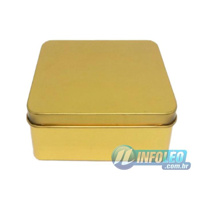 Lata de Metal Quadrada 9,5x9,5x4,5cm Dourada