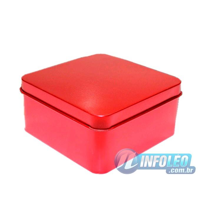 Lata de Metal Quadrada 9,5x9,5x4,5cm Vermelha