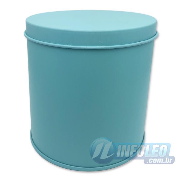 Lata de Metal Redonda 10x10cm Azul Tiffany Luxo