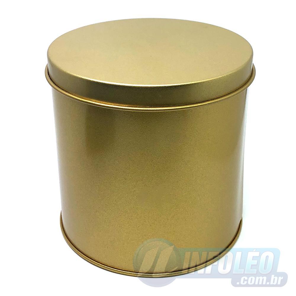 Lata de Metal Redonda 10x10cm Dourada Luxo