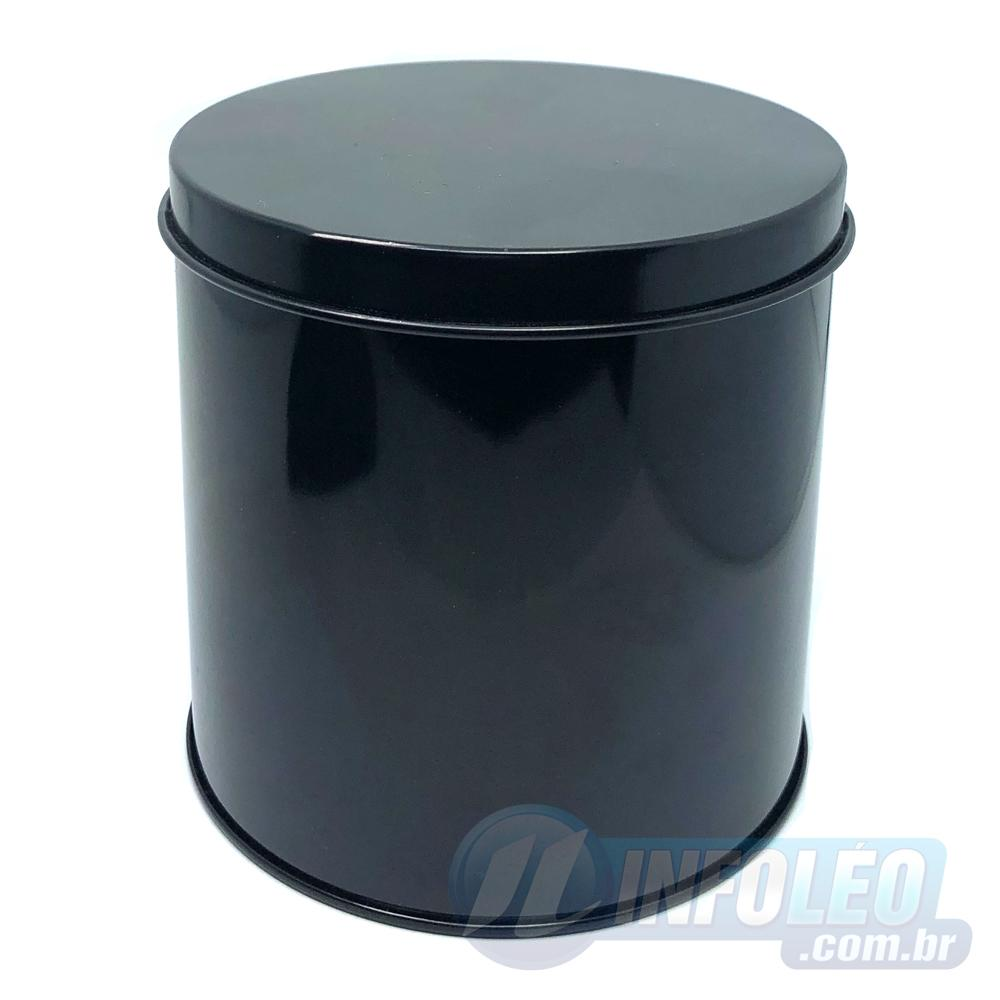 Lata de Metal Redonda 10x10cm Preta Luxo
