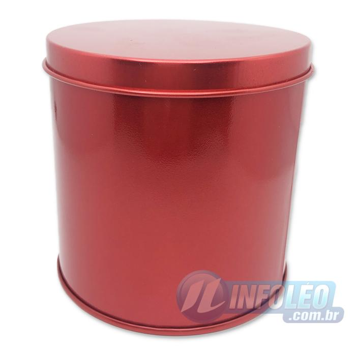 Lata de Metal Redonda 10x10cm Vermelho Luxo