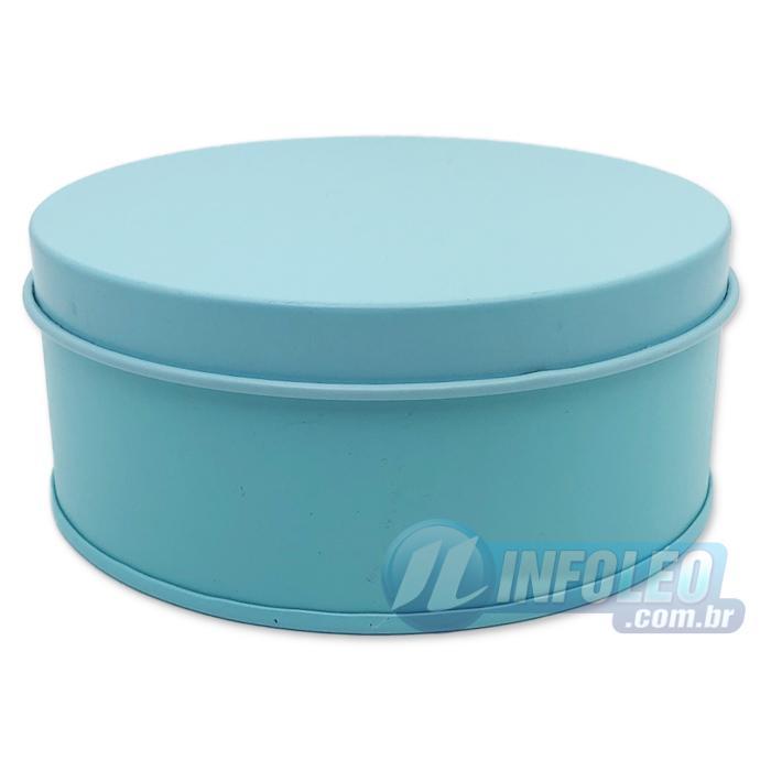 Lata de Metal Redonda 10x4cm Azul Tiffany Luxo