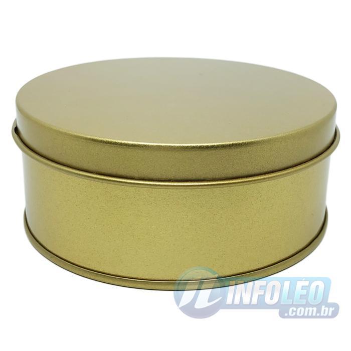 Lata de Metal Redonda 10x4cm Dourada Luxo