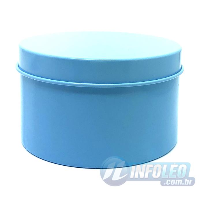 Lata de Metal Redonda 7,5x4,5cm Azul Claro