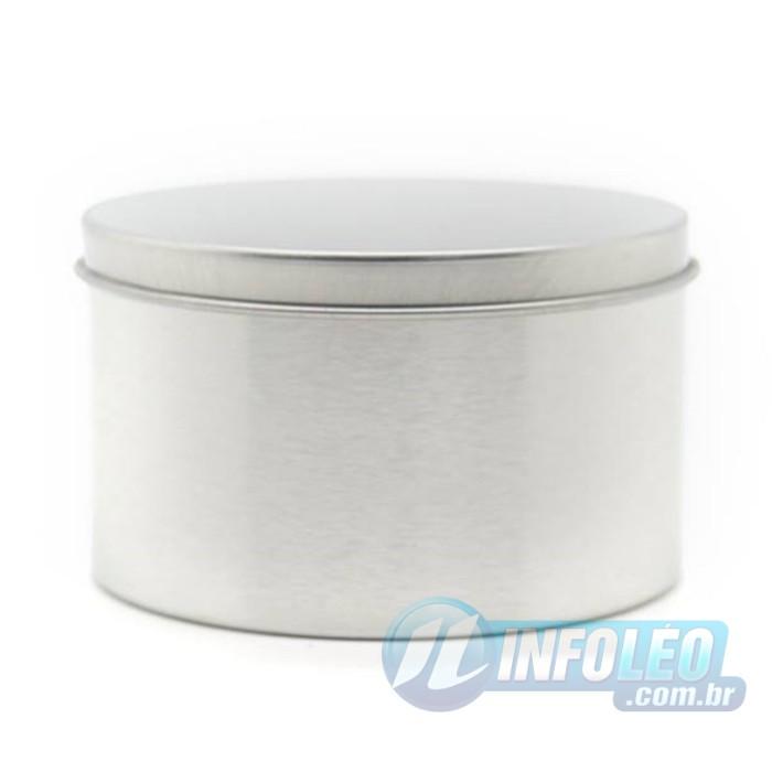 Lata de Metal Redonda 7,5x4,5cm Prata - AG0016