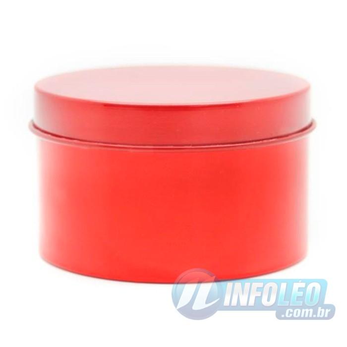 Lata de Metal Redonda 7,5x4,5cm Vermelha - AG0013
