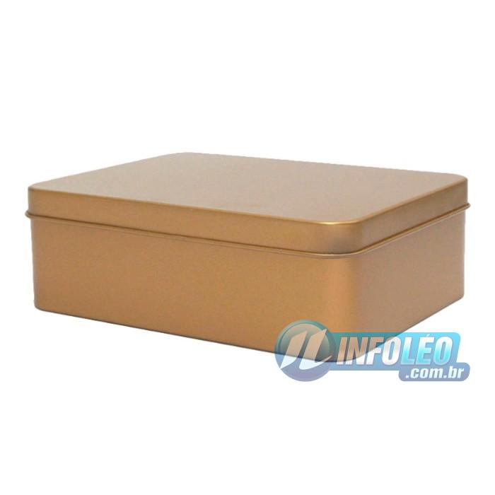 Lata de Metal Retangular 12x4x9cm Dourada Luxo