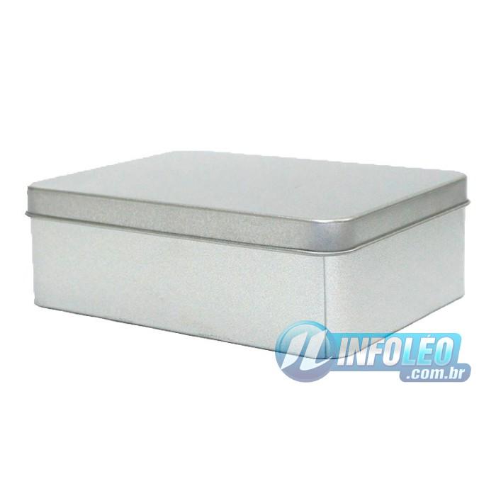 Lata de Metal Retangular 12x4x9cm Prata Luxo