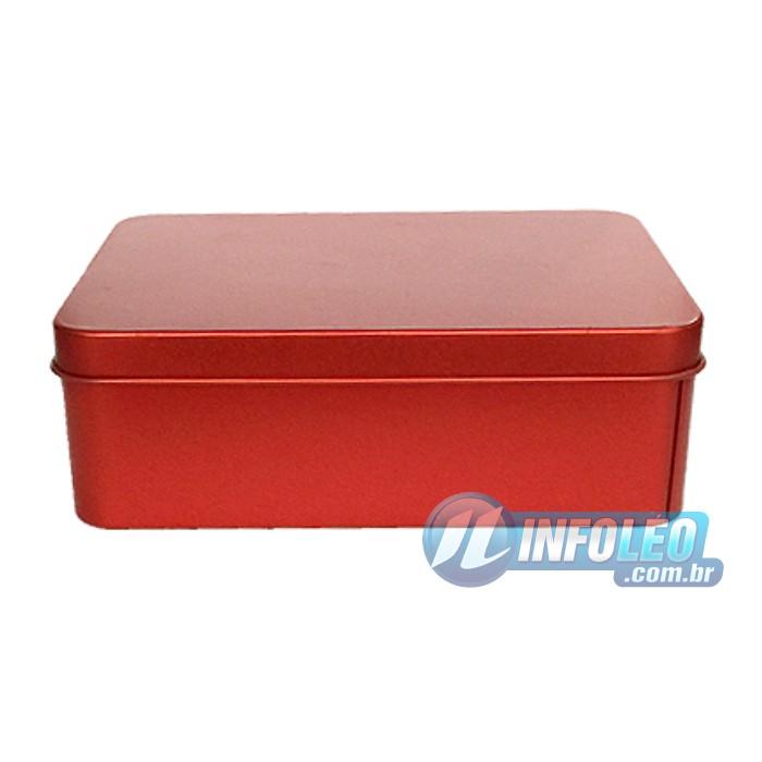 Lata de Metal Retangular 12x4x9cm Vermelha Luxo