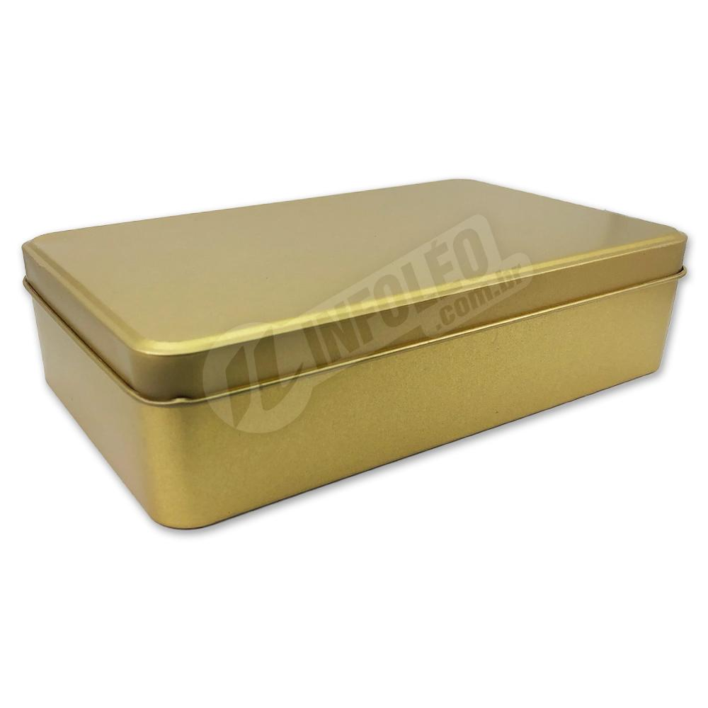 Lata de Metal Retangular 19x11x4,5cm Dourada Luxo