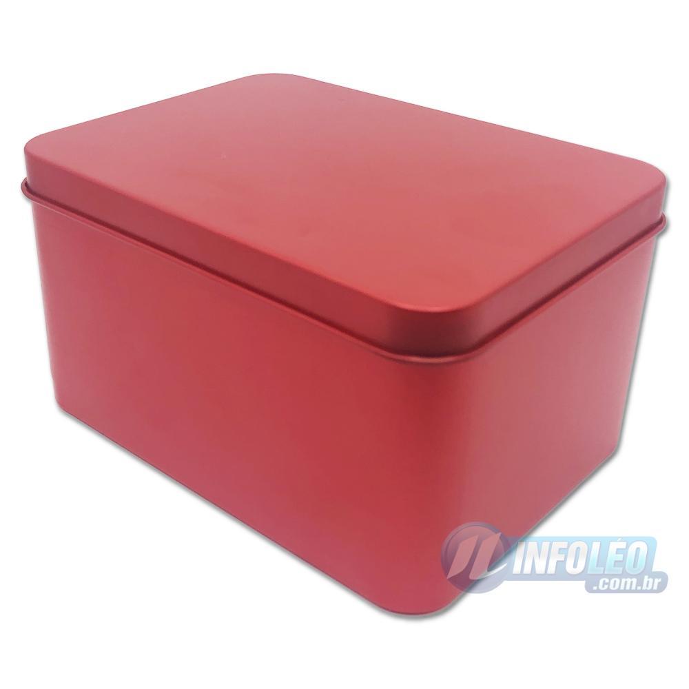 Lata de Metal Retangular Alta 11x6x8cm Vermelho Luxo
