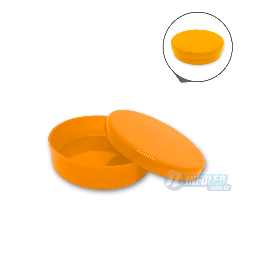 Latinha Plástico Laranja 5,5x1,5cm - 10 unidades