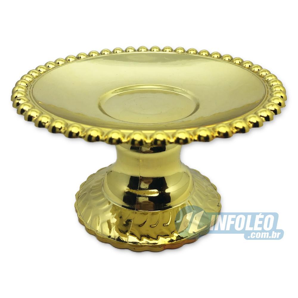 Mini Bandeja C/ Pé Redonda Dourada Plástico 12x7x12cm - Unidade
