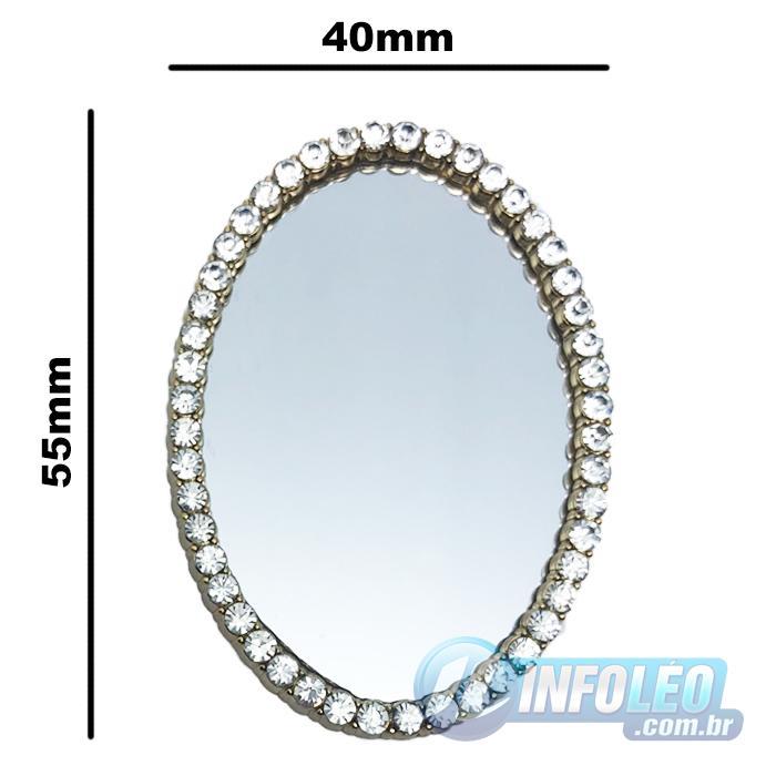 Mini Espelho C/ Moldura Strass 4,5x6,5cm MC0044