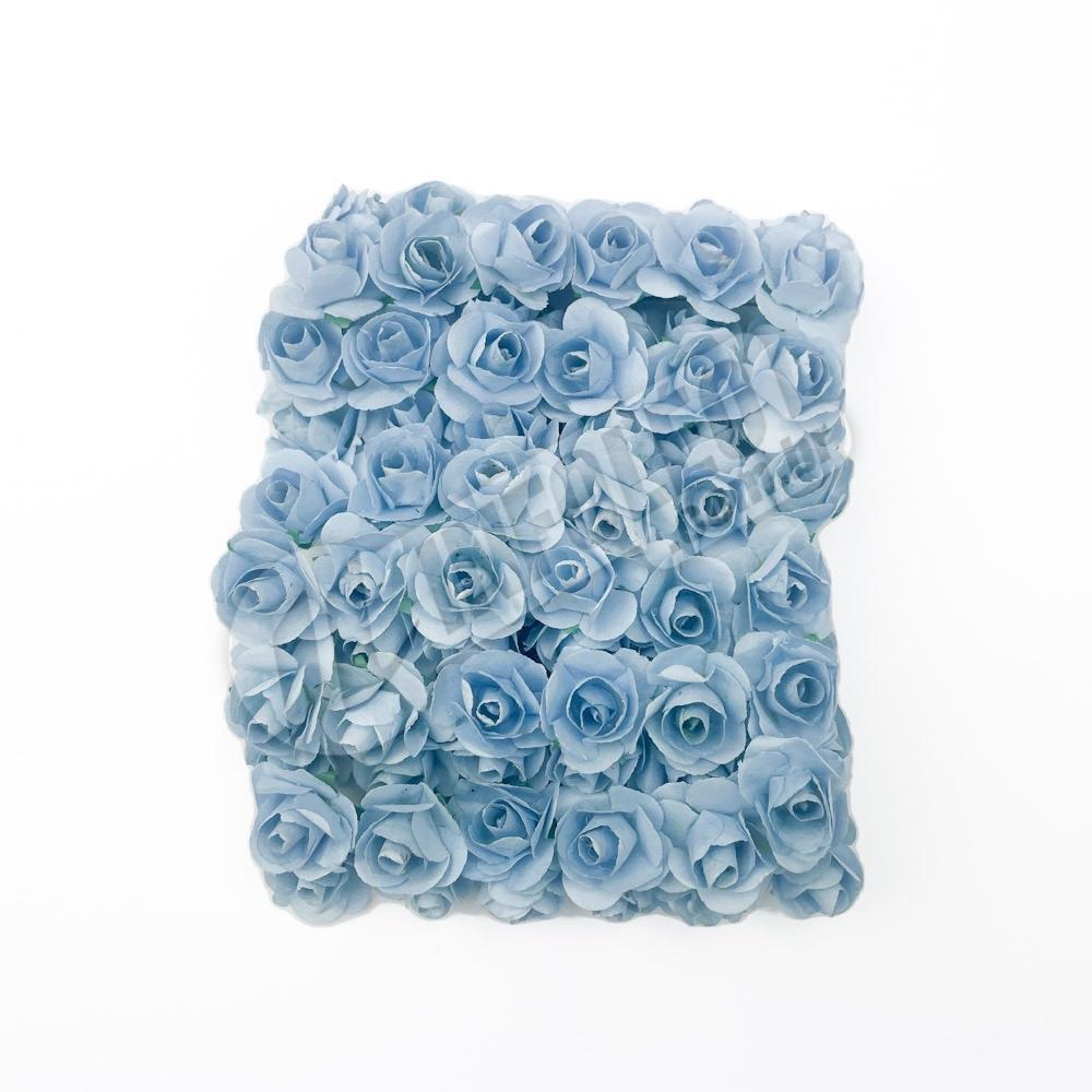 Mini Flor de Papel Azul Bebê - 72 unidades