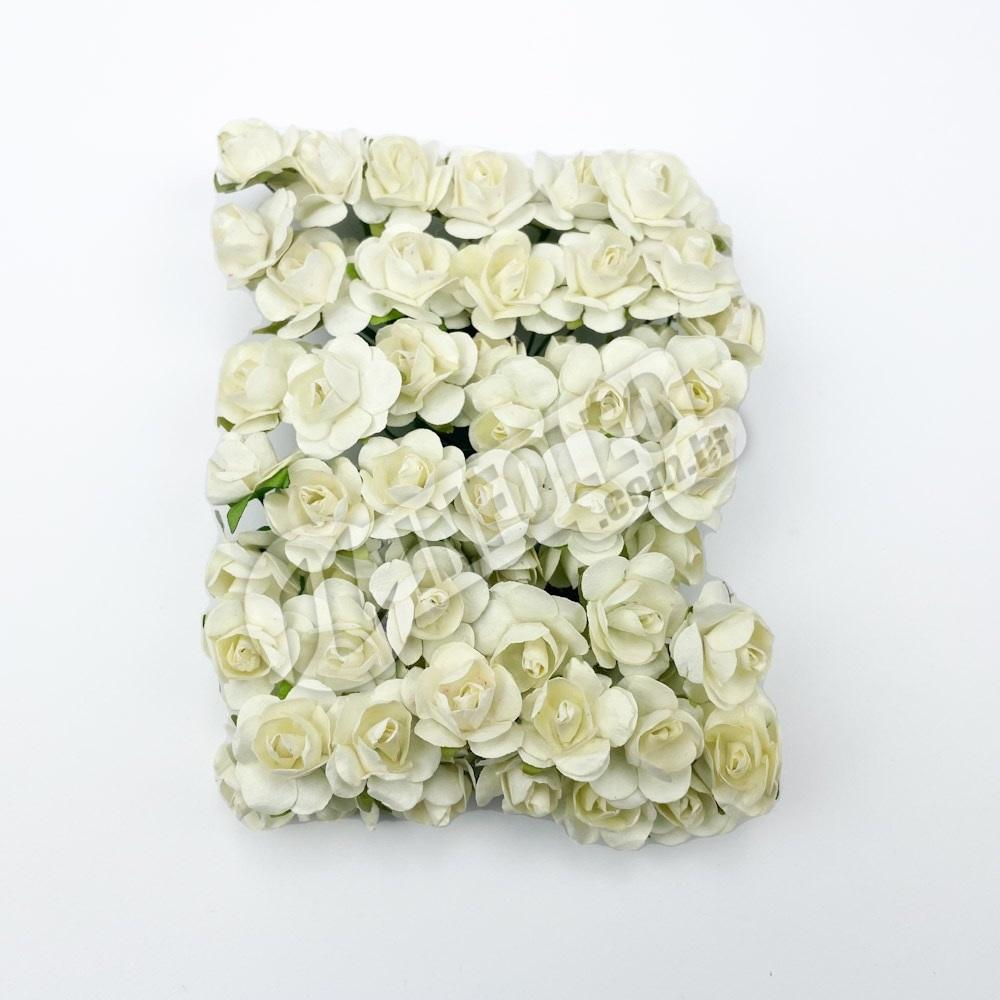Mini Flor de Papel Bege - 72 unidades