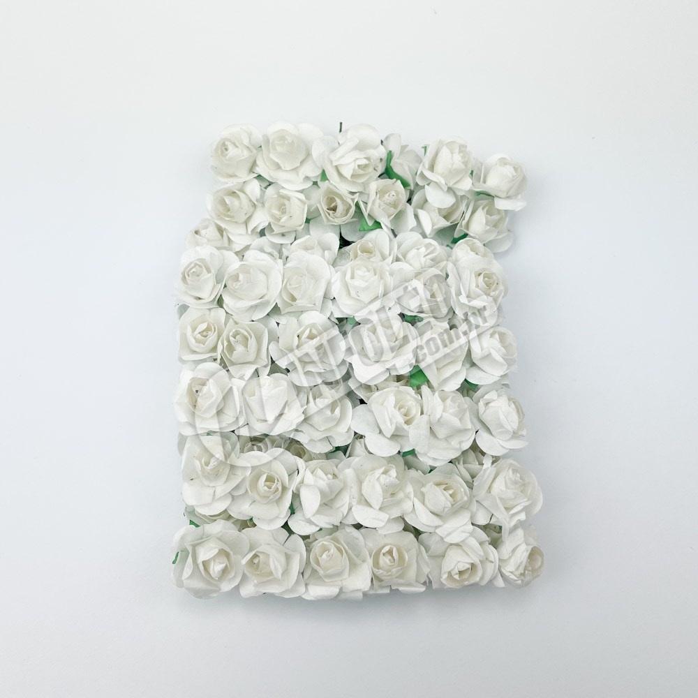 Mini Flor de Papel Branco - 72 unidades