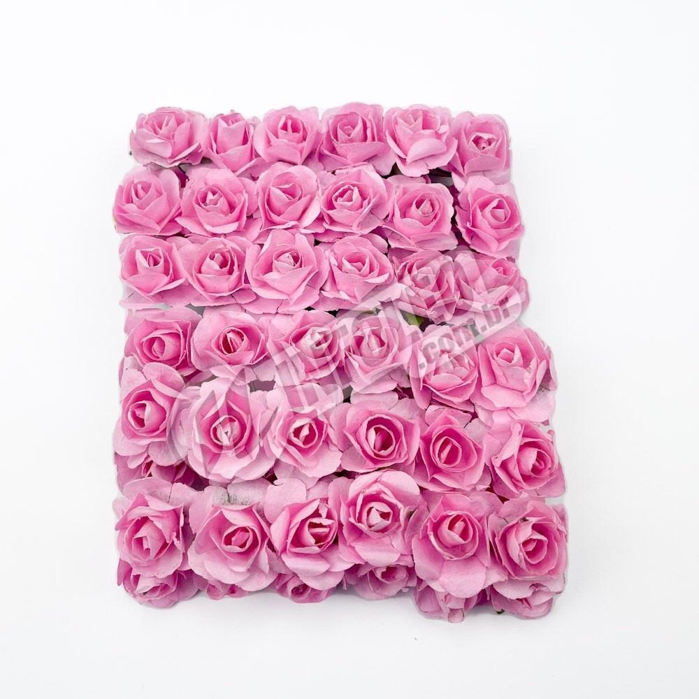 Mini Flor de Papel Rosa Bebê - 72 unidades