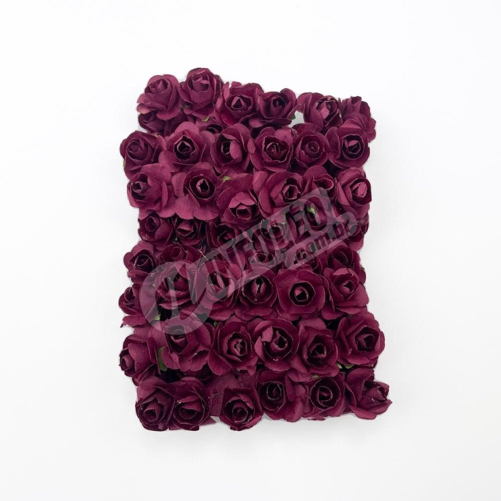 Mini Flor de Papel Vinho - 72 unidades