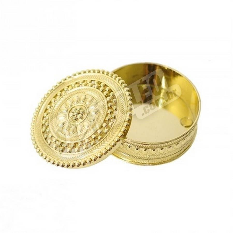 Mini Porta-Jóias Redondo Dourado 6x2cm - Unitário