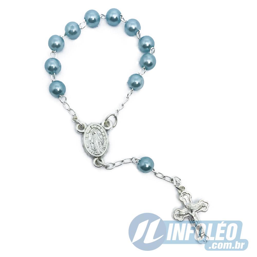 Mini Terço Azul Turquesa 10,5cm AG0044 - 12 unidades