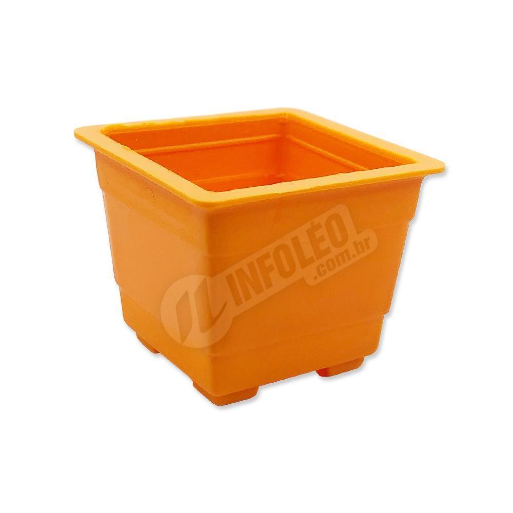 Mini Vaso Quadrado Plástico 4,5x3,5cm Laranja