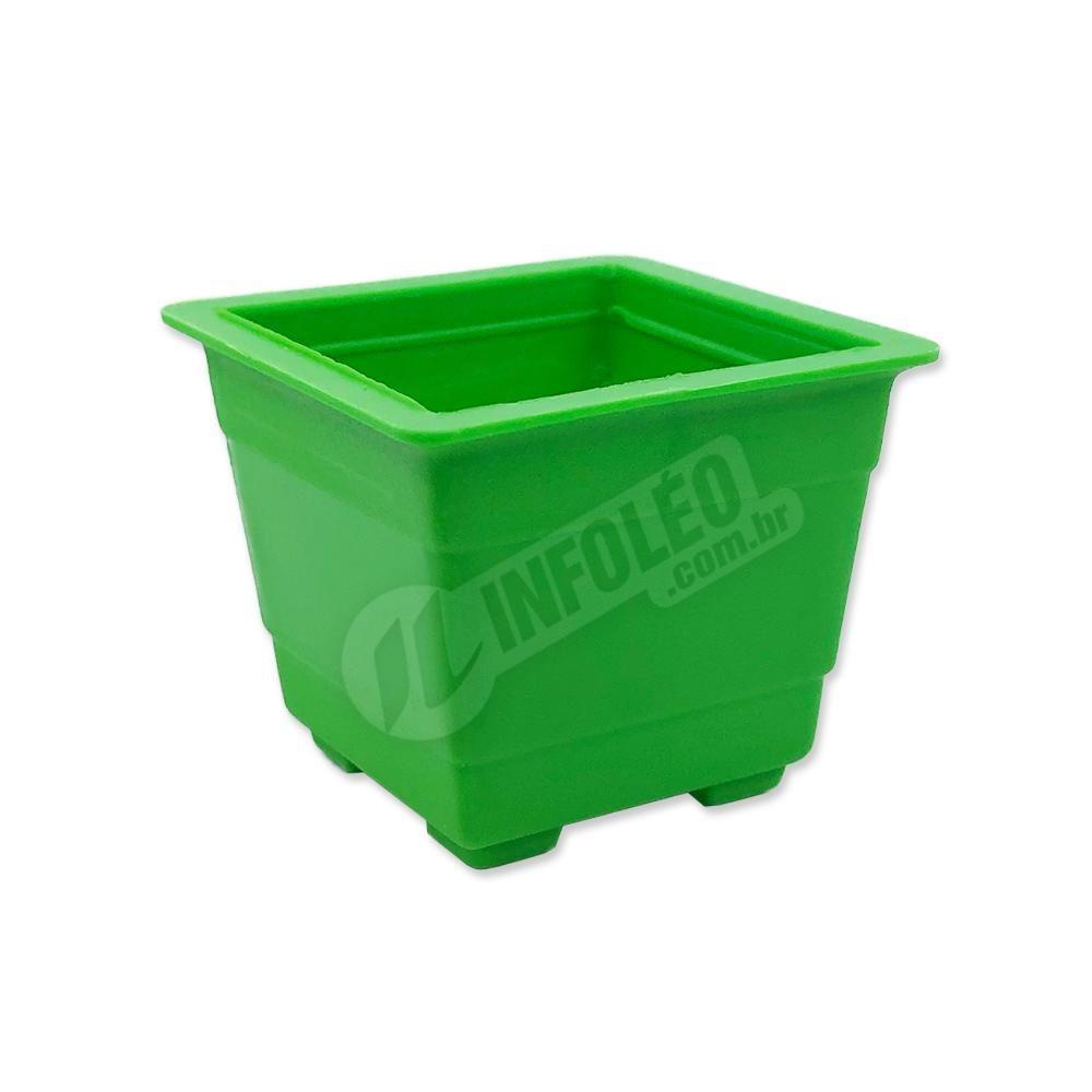 Mini Vaso Quadrado Plástico 4,5x3,5cm Verde Limão