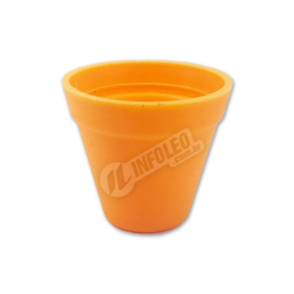 Mini Vaso Redondo Plástico 3x3,5cm Laranja