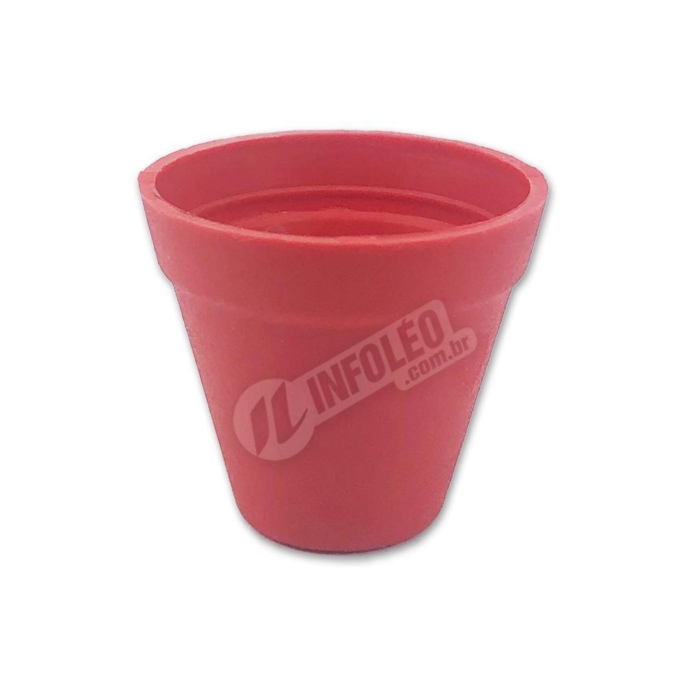 Mini Vaso Redondo Plástico 3x3,5cm Vermelho