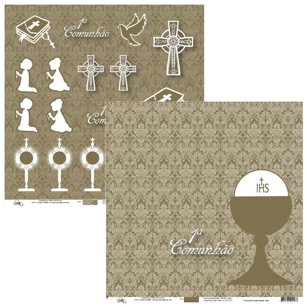 Papel 1a Comunhão Dourado Grande Okscrapbook - 6981
