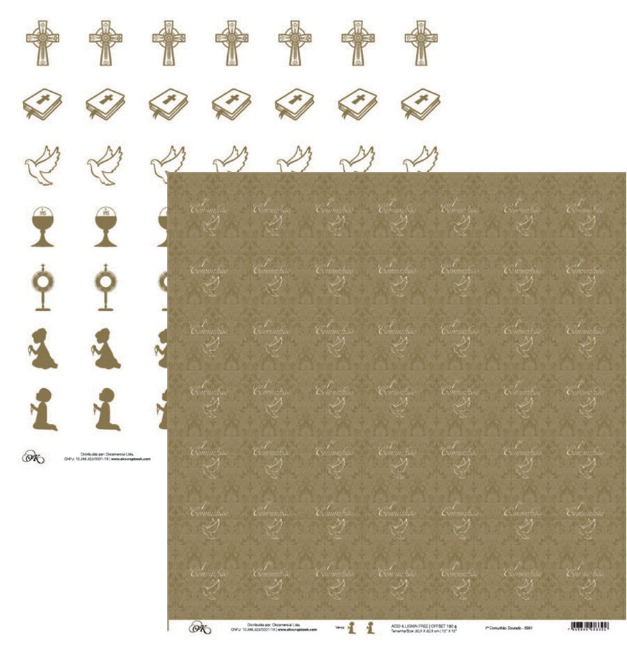 Papel 1a Comunhão Dourado Okscrapbook - 6881