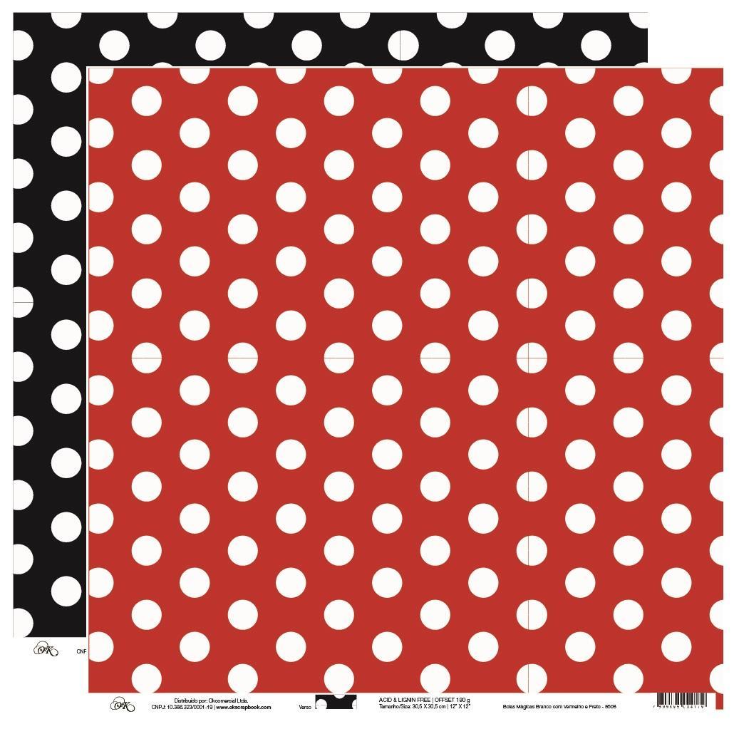 Papel Bolas Mágicas Branco com Vermelho Okscrapbook - 8508