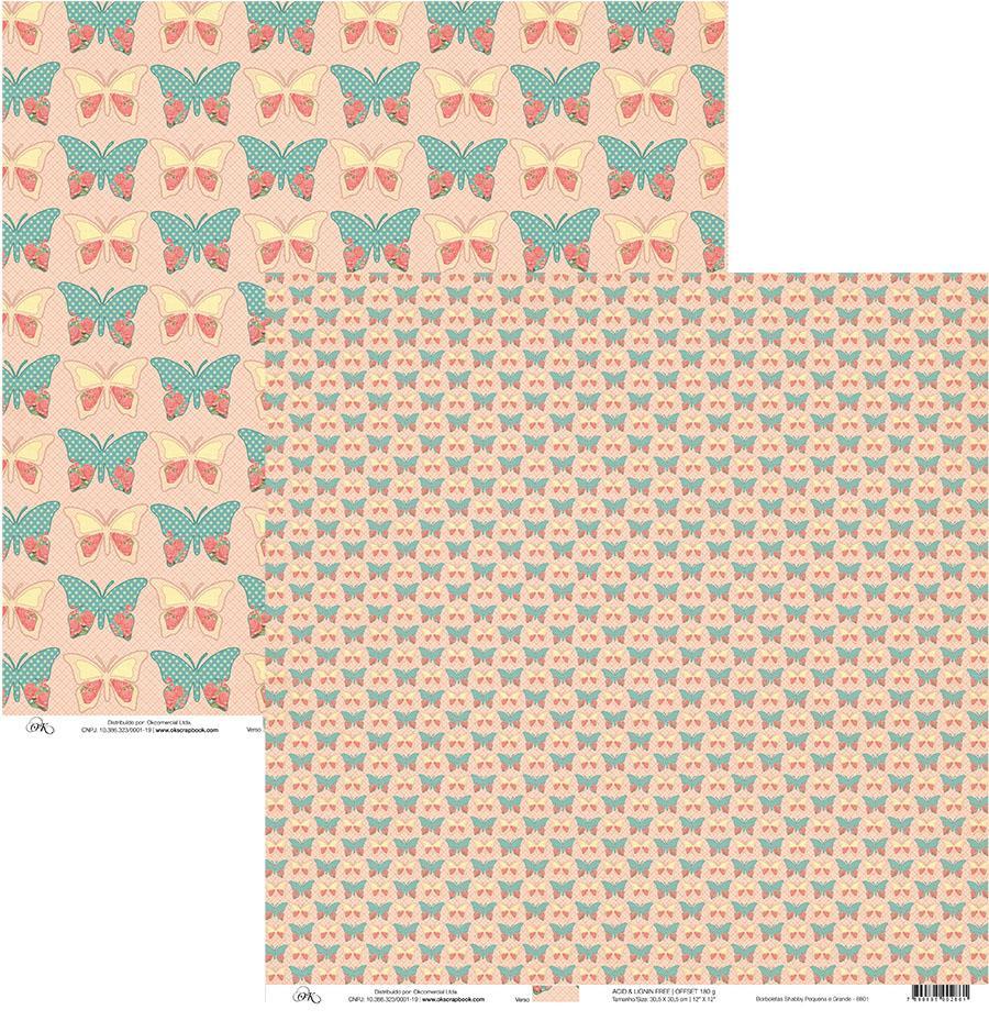 Papel Borboletas Shabby Pequena e Grande Okscrapbook - 8801