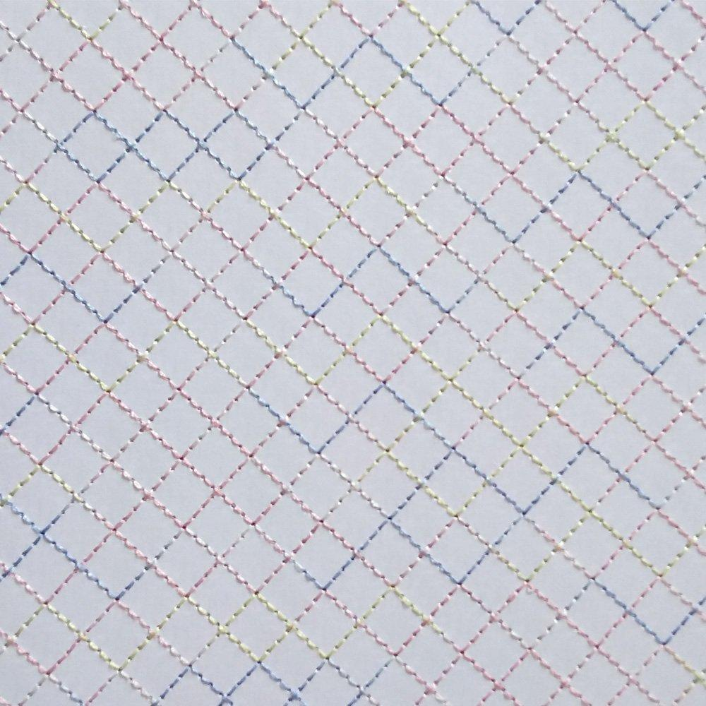 Papel Bordado Linha Colorida em Papel Branco 30x30cm 240g - 0001