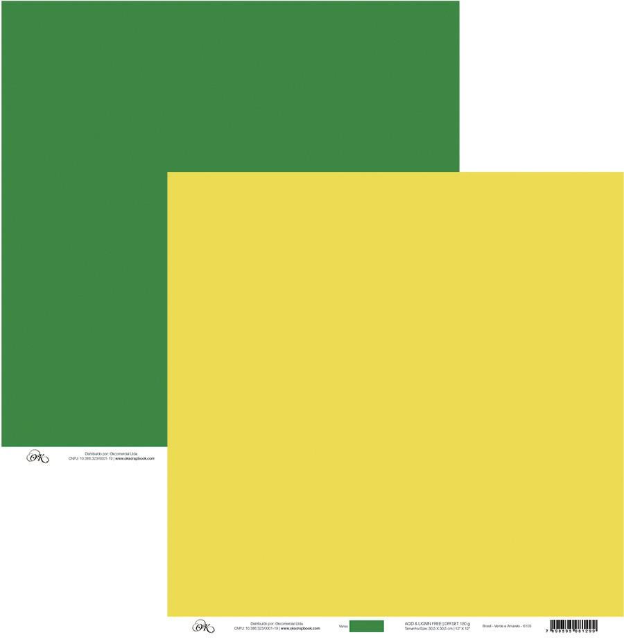 Papel Brasil - Verde e Amarelo Okscrapbook - 6103