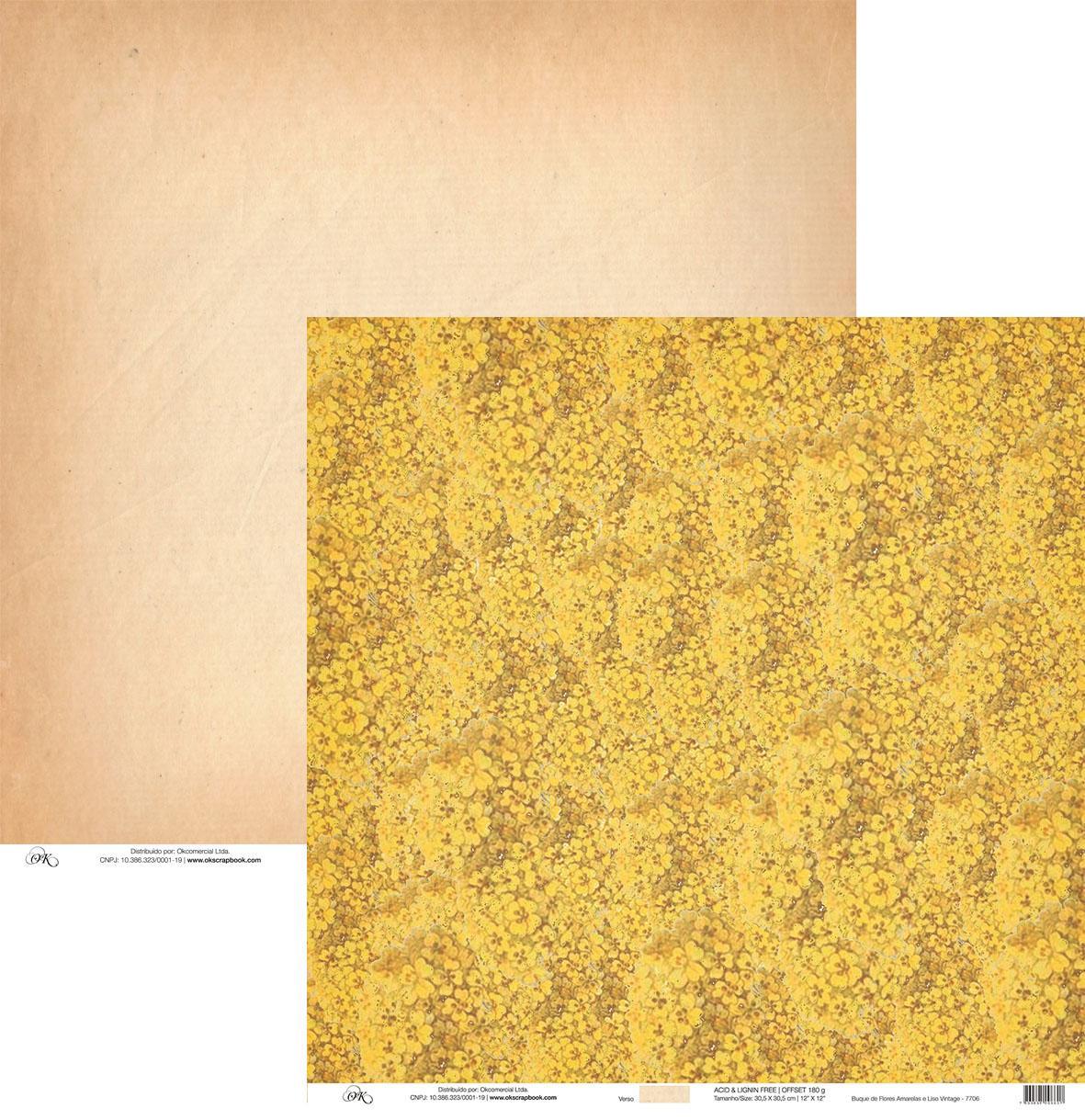 Papel Buque de Flores Amarelas e Liso Okscrapbook - 7706Vin