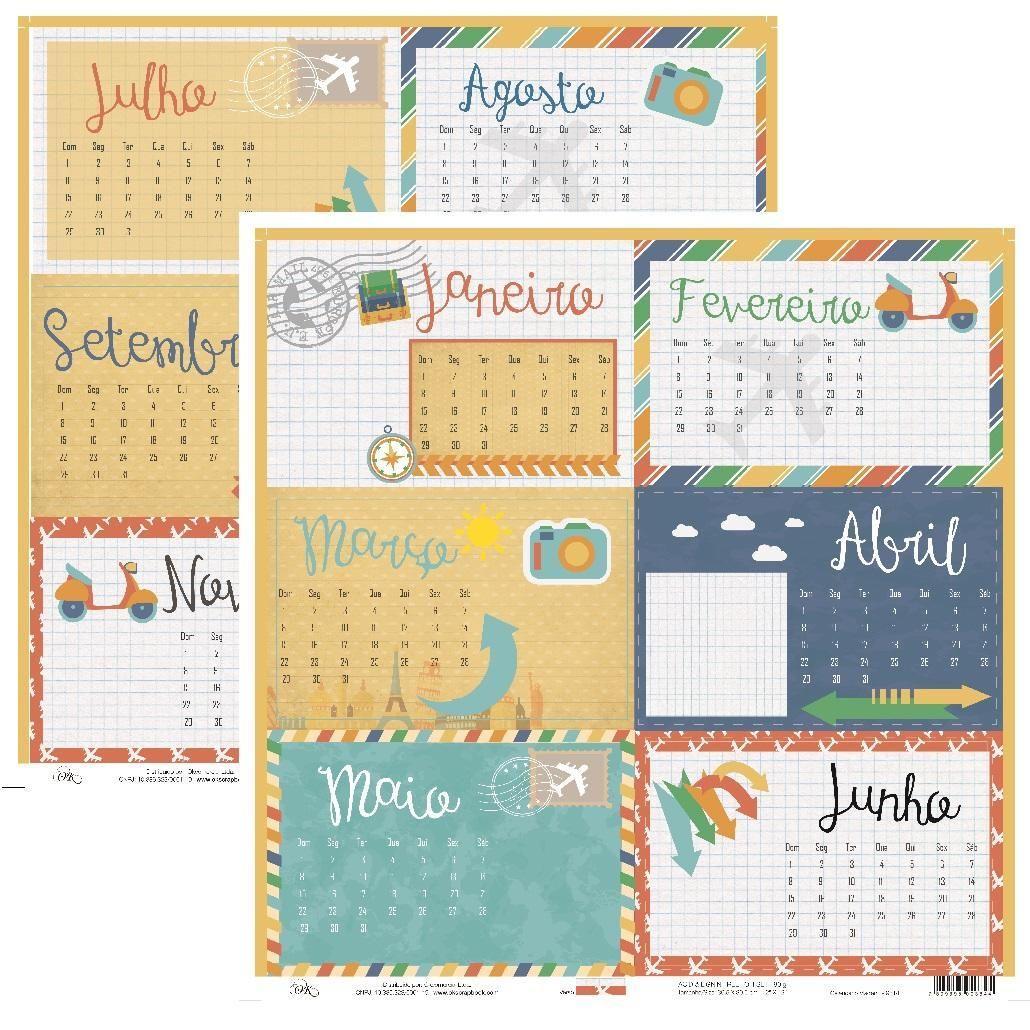 Papel Calendário Viagem Okscrapbook - 9514