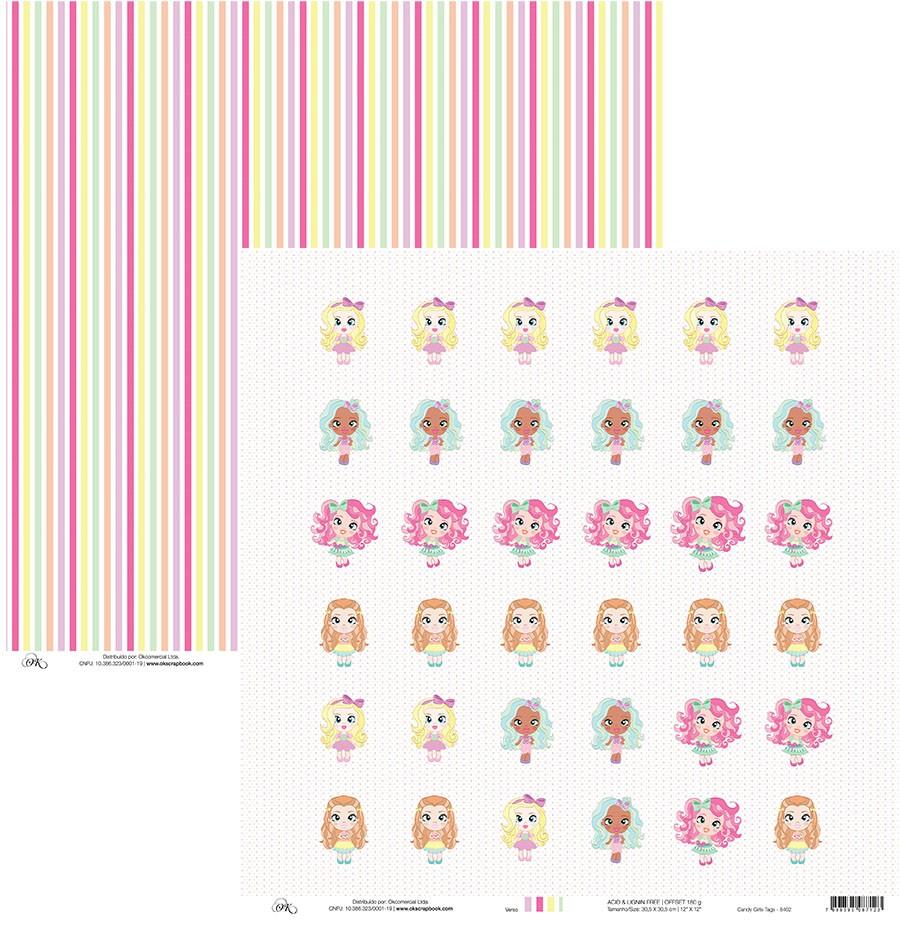 Papel Candy Girls Tag Okscrapbook - 8402
