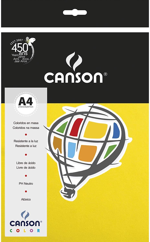 Papel Canson A4 Amarelo Canário 180 gramas 10 folhas