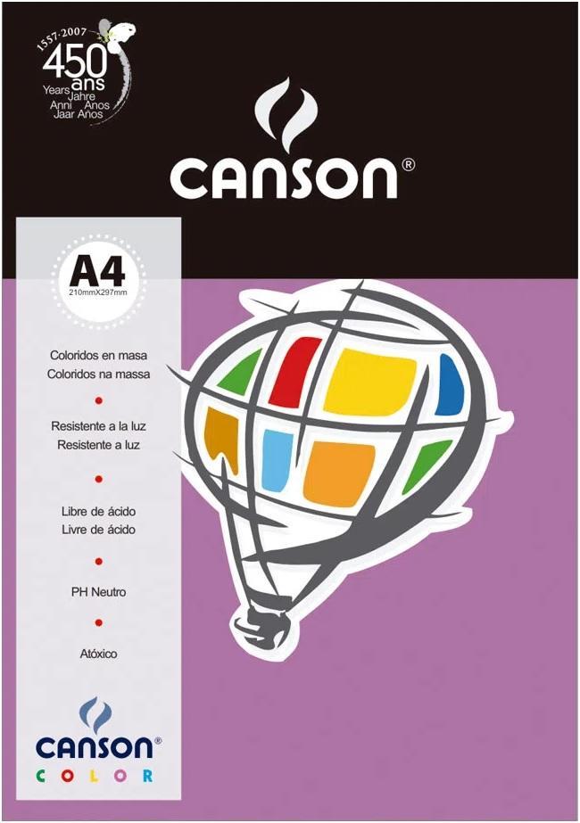 Papel Canson A4 Lilás 180 gramas 10 folhas