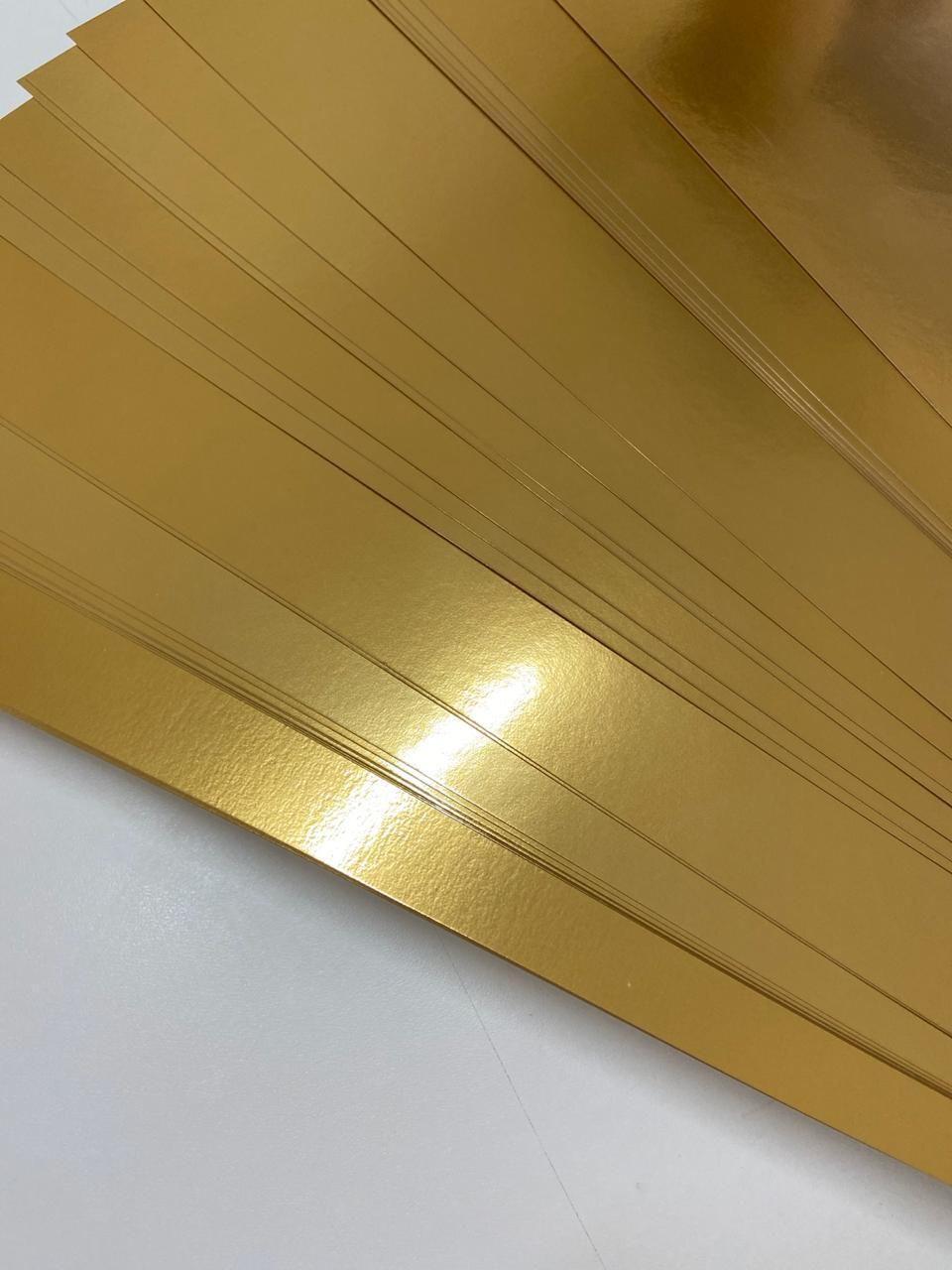 Papel Canson Laminada Dourada 25x32cm 280g/m2 Lamicote