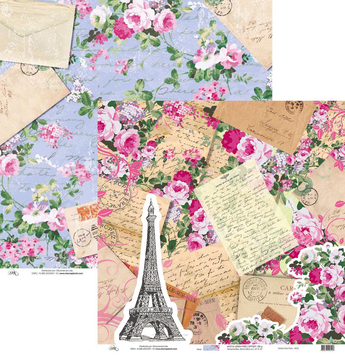 Papel Cartas para Paris Okscrapbook - 6043