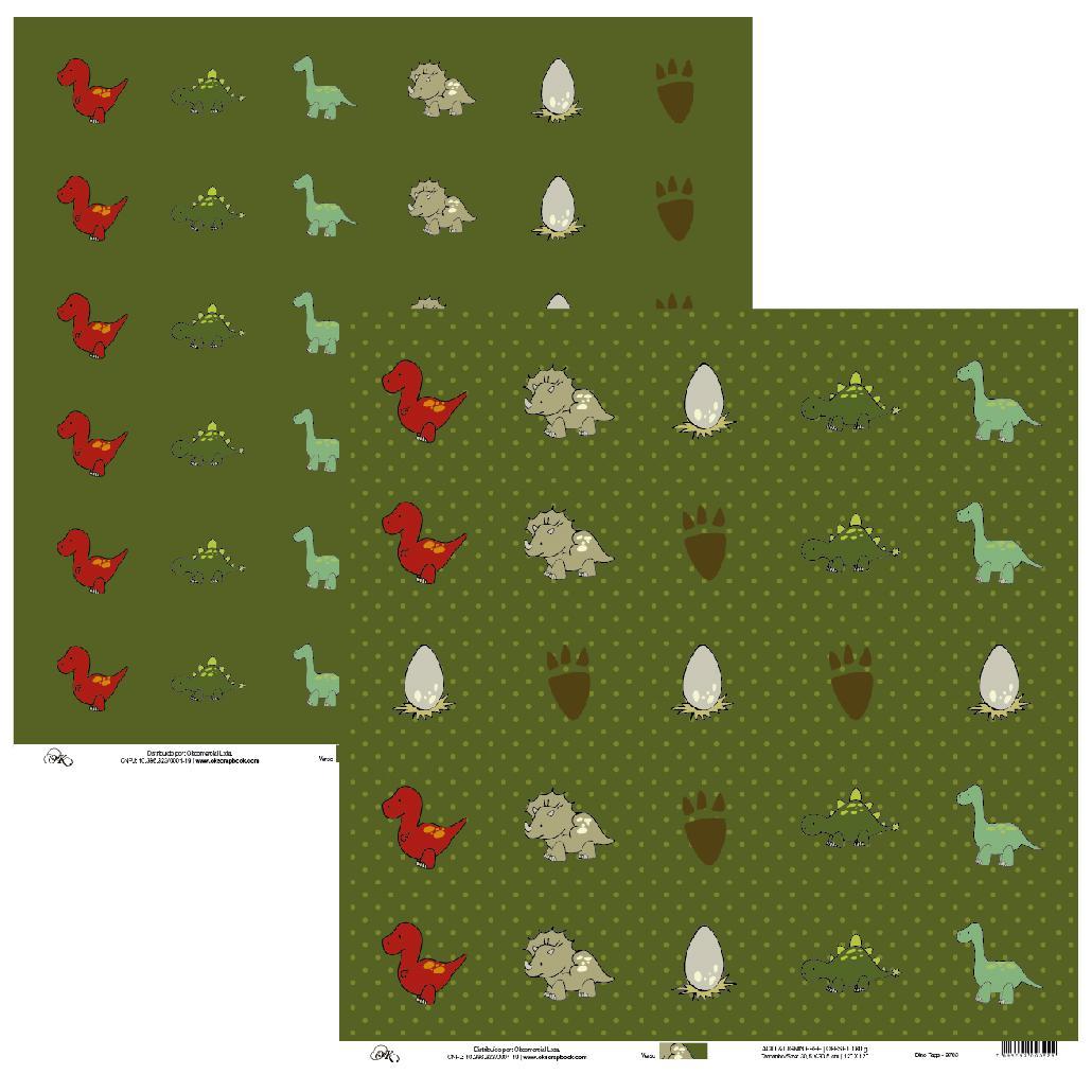 Papel Dino Tags Okscrapbook - 9703