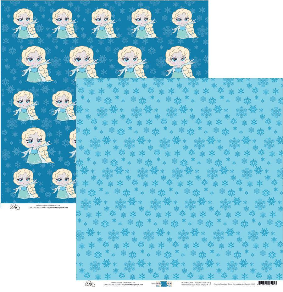 Papel Floco de Neve Azul Gelo e Tag Okscrapbook - 7943