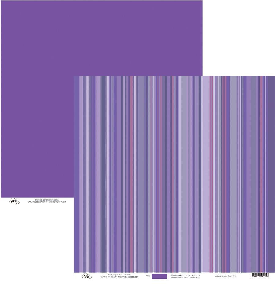 Papel Listra de Tons em Roxo Okscrapbook - 7715