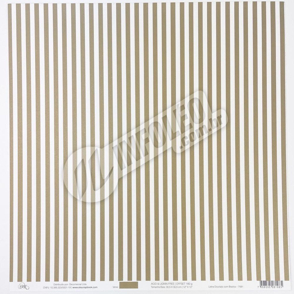 Papel Listra Dourado com Branco Okscrapbook - 7581
