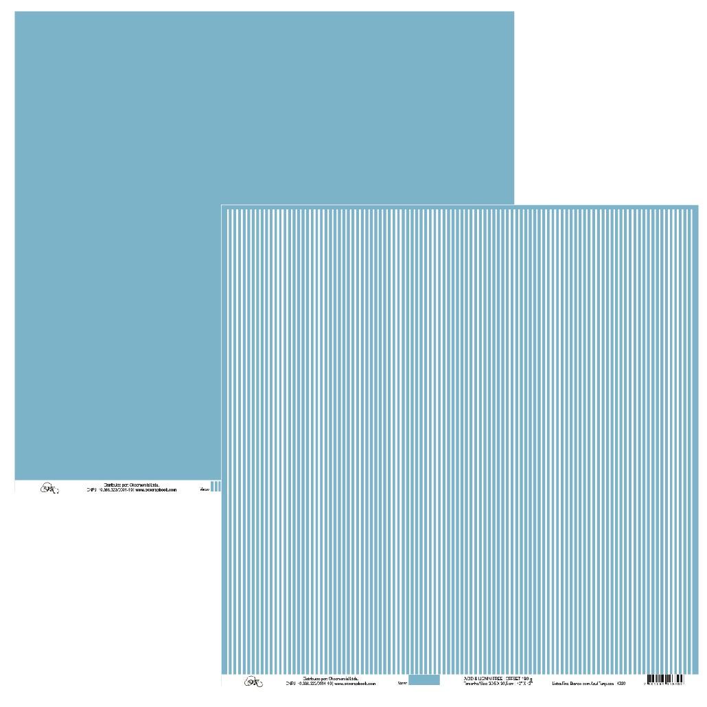 Papel Listra Fina Branco com Azul Turquesa Okscrapbook - 1920