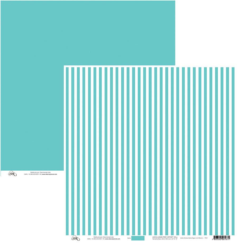 Papel Listra Grossa Verde Água C/ Branco Okscrapbook - 7521
