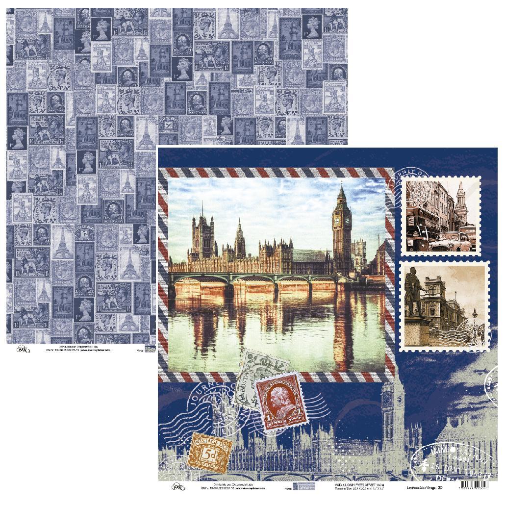 Papel Londres e Selos Vintage Okscrapbook - 9501